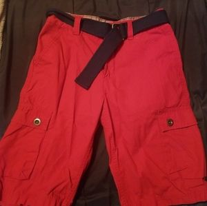 Red kids khakis with belt